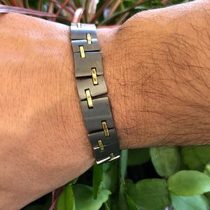 Other - TUNGSTEN With Gold Brass Men Bracelet Sz 9""
